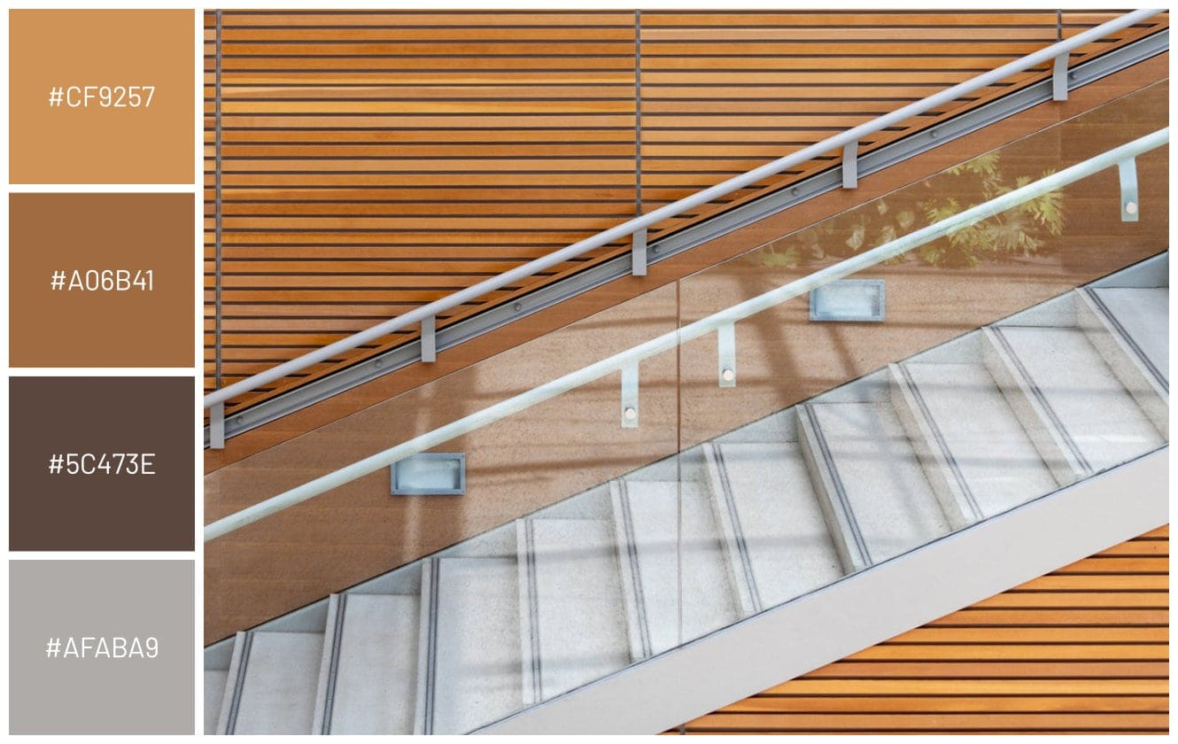 modern home staircase glass and metal railing concrete steps