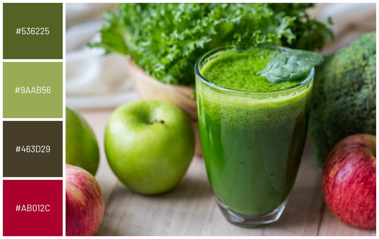 green apple red apple mint detox drink shake on wood table