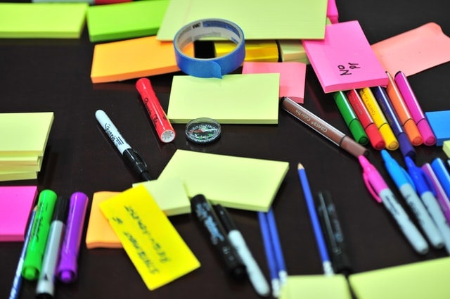 marketing buzz words multicolored postit notes